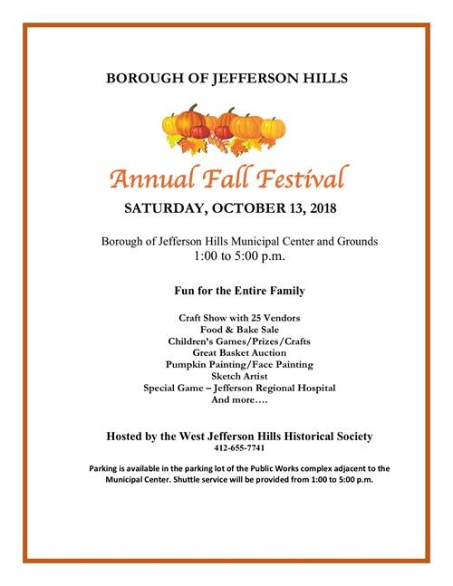 Flyer for October 13 Fall Festival
