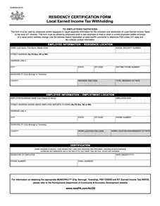 Local Earned Income Tax - Residency Certification Form/Information